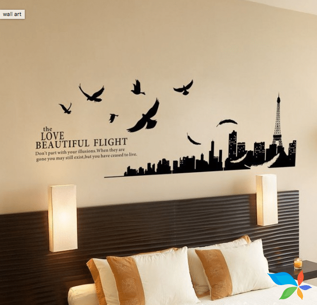 Bed with birds and words - Artwork painting