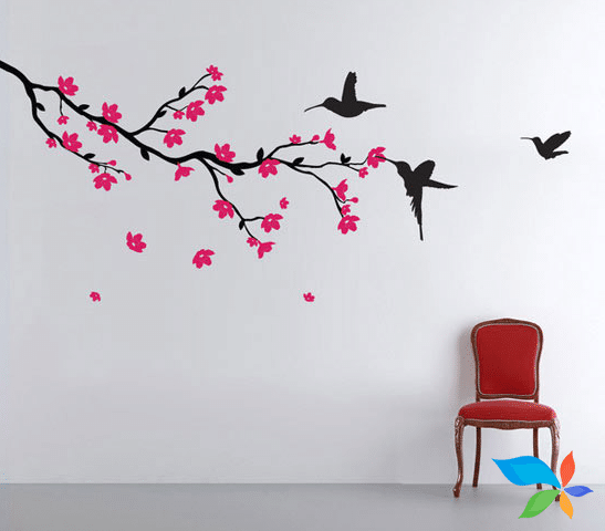 Flower and Birds - Wall art painting