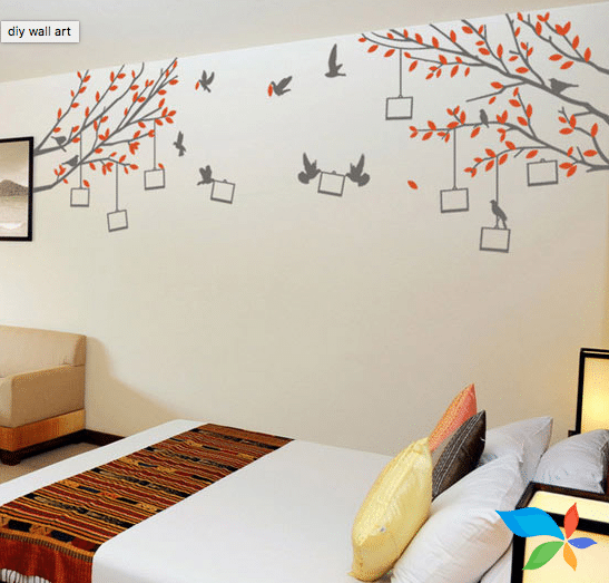 Bed and Birds - Wall artwork Designs